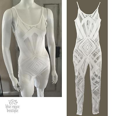 SEXY Bodycon White Lace Full Body Music Festival Rave Club Catsuit Bodysuit - Full Body Catsuits