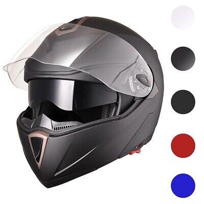 DOT Flip up Modular Full Face Motorcycle Helmet Dual Visor Motocross Size -