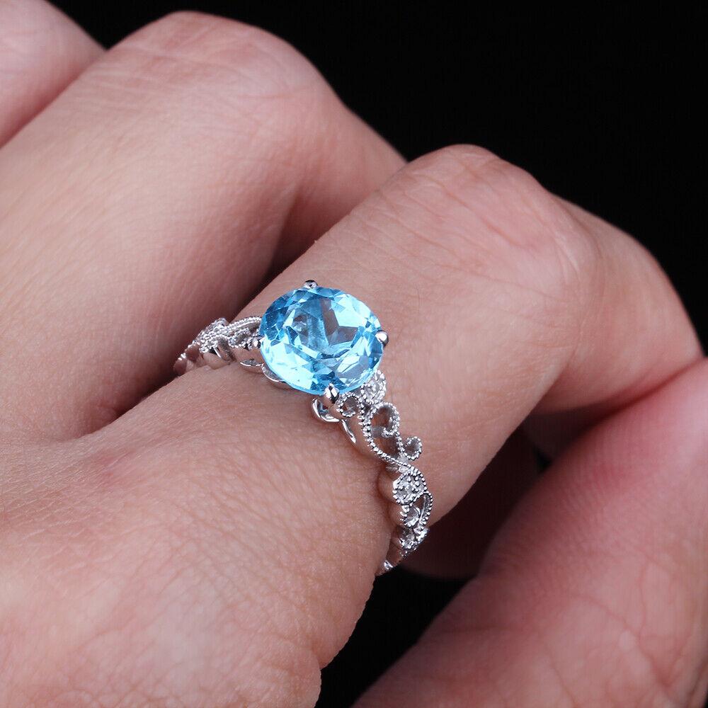 Solid 10K White Gold 7mm Round Genuine Swiss Blue Topaz Engagement ...
