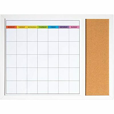 Dry Erase Calendar Board Wall 18in X 24in - Magnetic Whiteboard With Small And