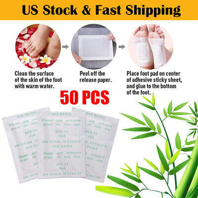 50Pcs Anti-Inflammation Swelling Ginger Foot Patch Organic Herbal Detox Pads US