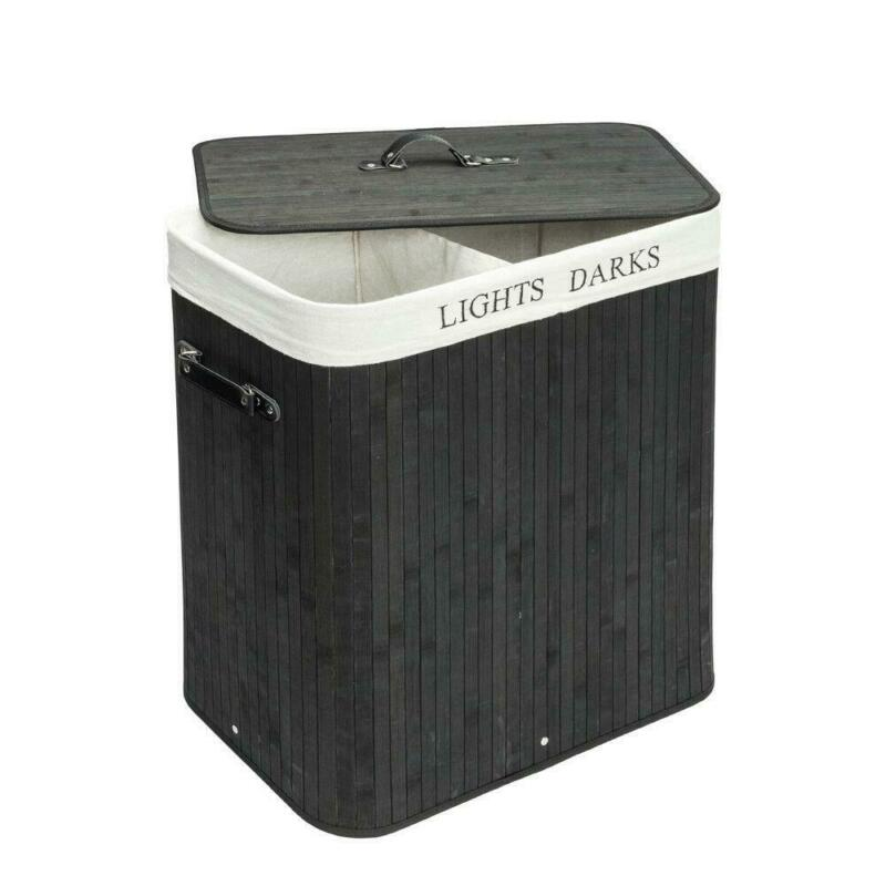 Bamboo Laundry Hamper Bag Wicker Holder Dirty Clothes Washing Storage Basket