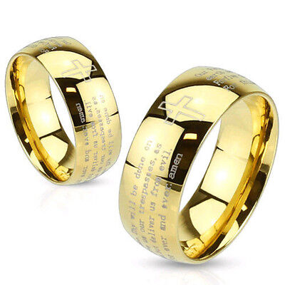 Stainless Steel Gold IP Laser Etched Lords Prayer Ring Cross Band (FL295) ()