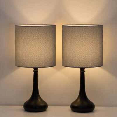 Modern Set of 2 Bedside Lamp Gray Linen Table Lamp Pair for Bedroom,Living Room 2 Table Lamp Set