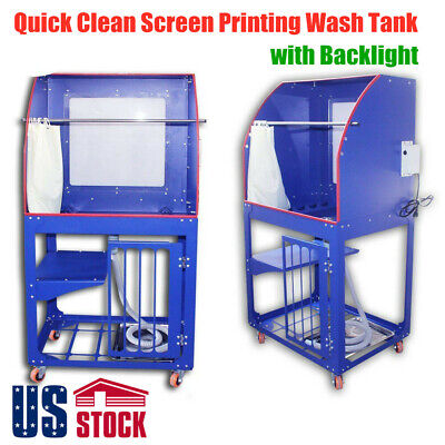 Us Silk Screen Printing Wash Tank Rinse Sink Washout Booth With Backlight
