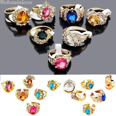 Wholesale Rhinestone Jewelry (USA 10pcs Jewelry Rhinestone Gold Plated Fashion Woman Gift Rings Wholesale)