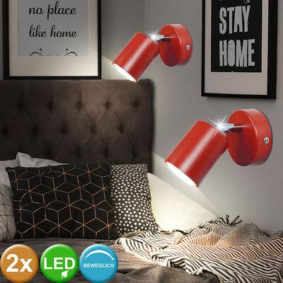 2x LED Wand Lampen Wohn Schlaf Zimmer Beleuchtung Retro Lese Spots schwenkbar