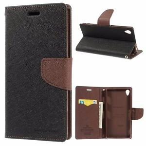 Sony Xperia Z3 D6653 Goospery Mercury Premium Canvas Book Style Card Slot Folding Flip Folio Wallet Cover Stand Case