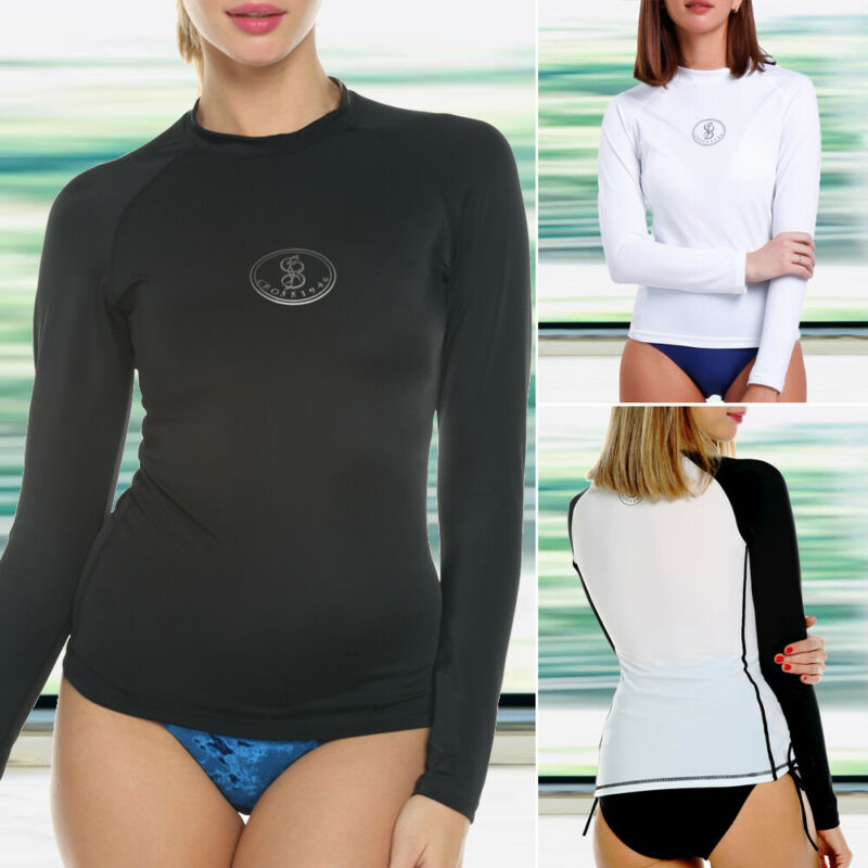 Rash Guard Sport Swimsuit Top Shirt Women Long Sleeve UV Sun Protection UPF 40