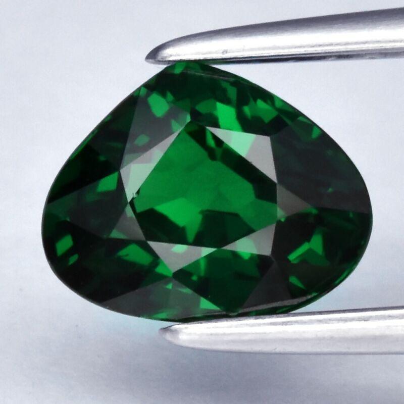 Ravishing! 1.16ct 7.2x5.7mm VVS Pear Natural Intense Green Tsavorite Garnet