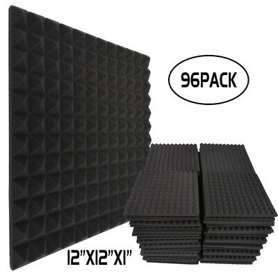 "96 Pack Acoustic Foam Egg Crate Panels Studio Soundproofing Tiles 12""X12""X1"""