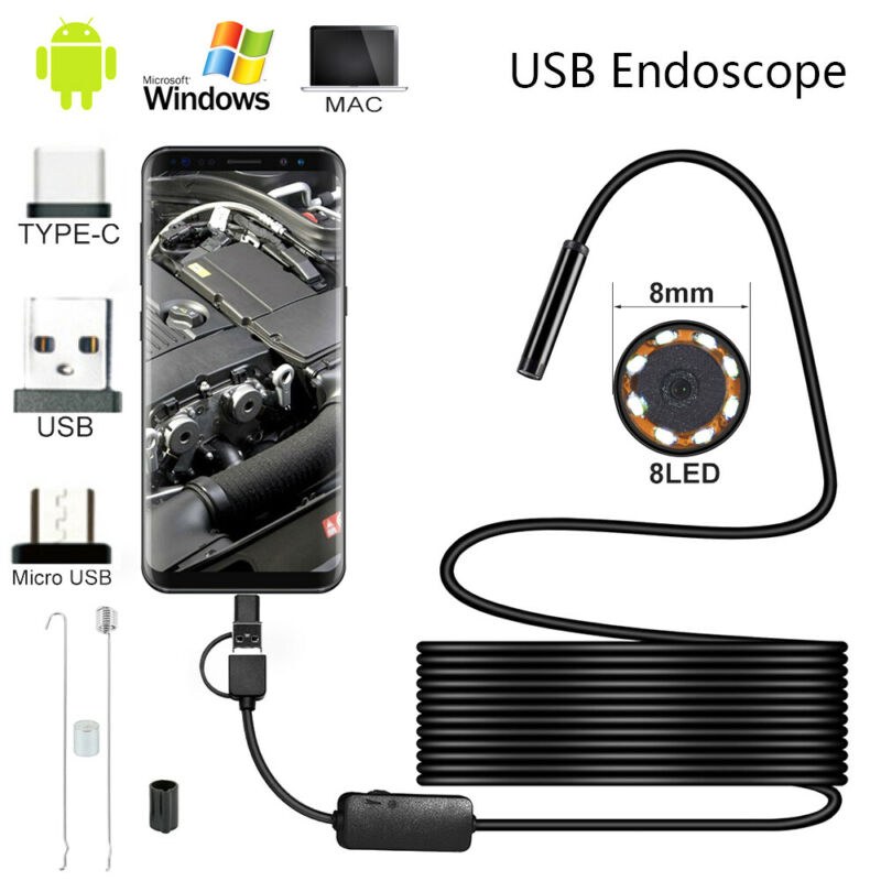 USB Endoscope Borescope Snake Inspection Camera Android Mobi