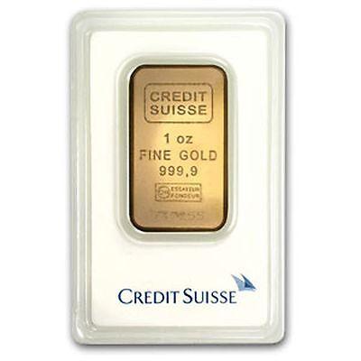 1 Oz Credit Suisse Gold Bar  9999 Fine Gold With Assay Cert