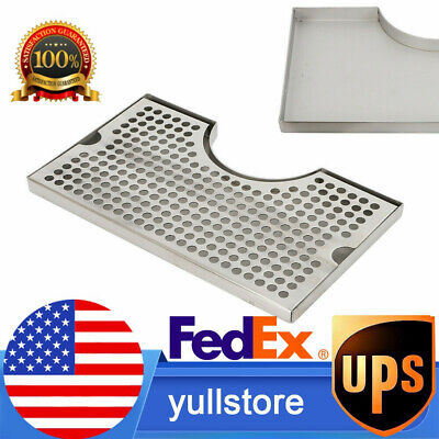 12x7 Stainless Steel Tower Drip Tray Cutout Draft Beer No Drain Removable Grate