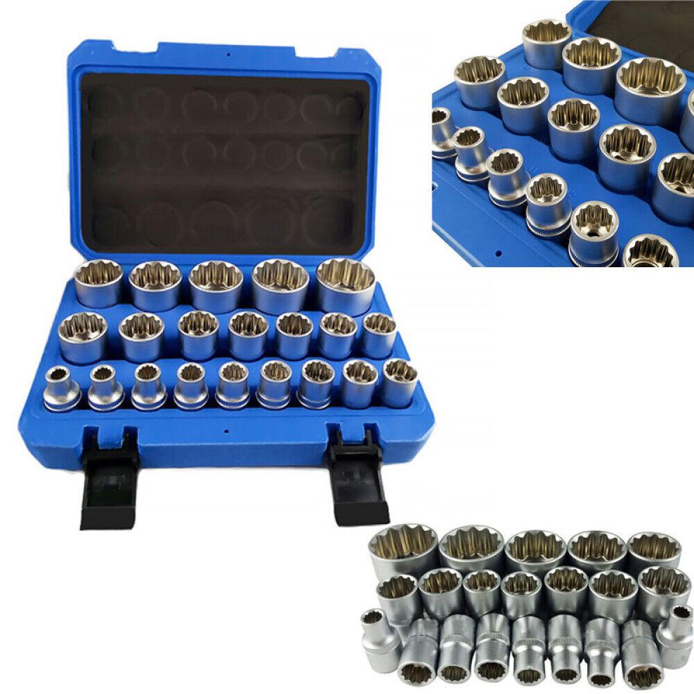 Steckschlüssel Satz 1//2 Zoll 21-tlg Außen Vielzahn Nüsse 8-36 mm Steck Nuss Set