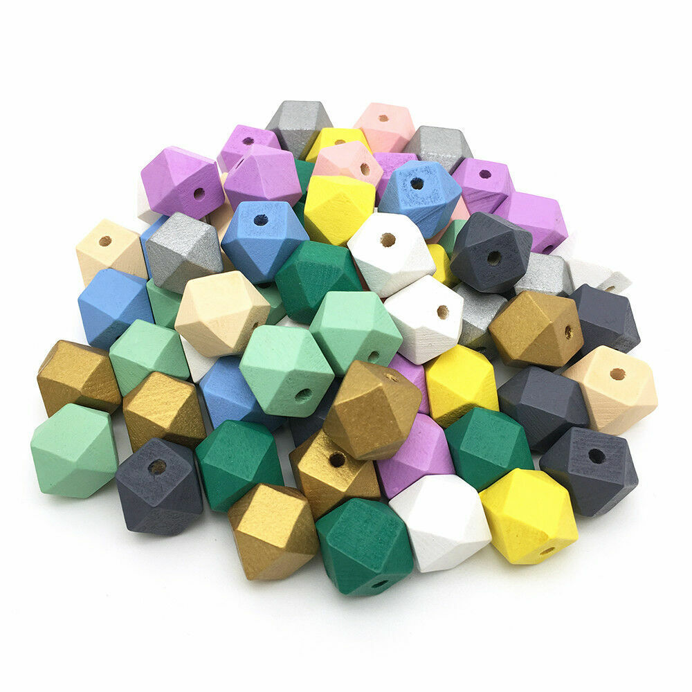 Hexagon Natural Wood Beads Painted Wooden Beads DIY Baby Jew