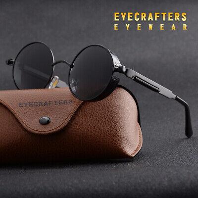 Herren Vintage Steampunk Sonnenbrille Polarisiert Rund Verspiegelt Retro Brillen