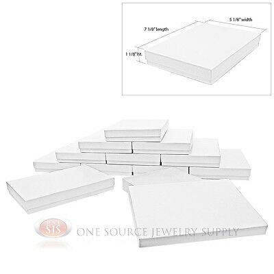 "12 White Swirl Cardboard Cotton Filled Jewelry Gift Boxes 7 1/8"" x 5 1/8"" Box"