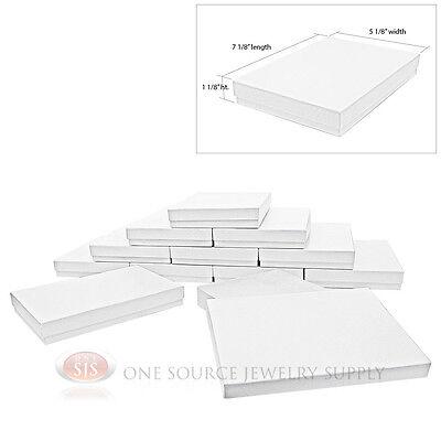 12 White Swirl Cardboard Cotton Filled Jewelry Gift Boxes 7 18 X 5 18 Box