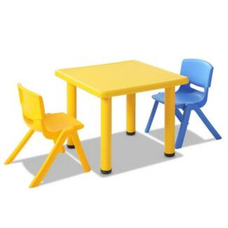 3 pcs kids table and chairs playset yellow