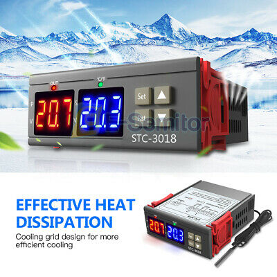 Stc-3018 Dc24v Digital Dual Led Temperature Controller Thermostat Probe Sensor