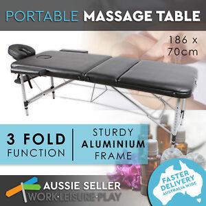 HPF Black Portable Aluminium Massage Table 3 Fold Beauty Therapy Bed Waxing
