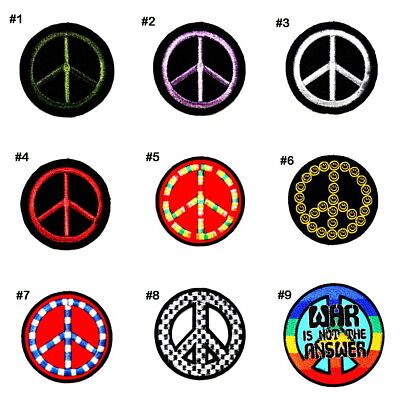 Retro Rainbow Rockabilly Hippie Peace Sign Symbol DIY Clothes Cap Iron on patch](Diy Hippie Clothes)