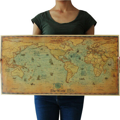 (The old Ocean Sea World Map large Vintage Style Retro Paper Poster Home Decor)
