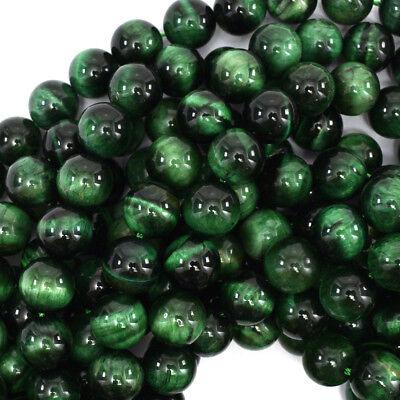 Tiger Eye Gemstone Beads - Green Tiger Eye Round Beads Gemstone 15.5
