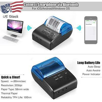 58mm Bt Wireless Thermal Receipt Ticket Pos Bill Printer For Ios Android Windows