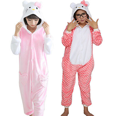 Adult Kitty Cat Hooded Flannel Pajama Union Suit One Piece Costume