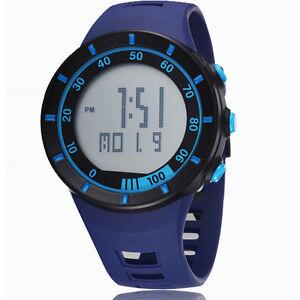 sport digital lcd number light day date alarm stopwatch