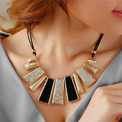 women Fashion Jewelry Pendant Chain Crystal Choker Chunky Bib Statement Necklace