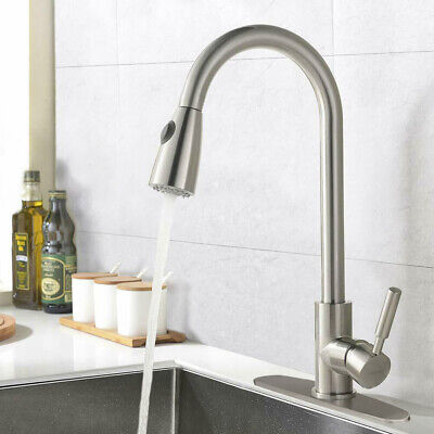 "Single Handle Kitchen Sink Faucet Pull Out Sprayer Brushed Nickel With 10"" Cover"