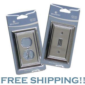 details about brainerd outlet light switch duplex cover plate metal. Black Bedroom Furniture Sets. Home Design Ideas