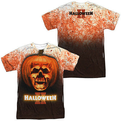 Halloween Movie PUMPKIN SKULL 2-Sided Sublimated All Over Print Poly T-Shirt - Halloween Pumpkin T Shirt