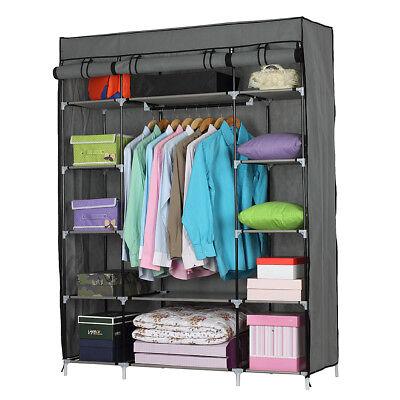 Portable Wardrobe Clothes Armoire Closet Storage Shoe Rack Shelves Bedroom Home