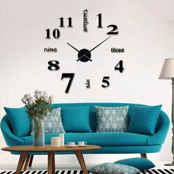 Frameless DIY Wall Clock 3D Mirror Surface Sticker Home Decor Bedroom Art Design