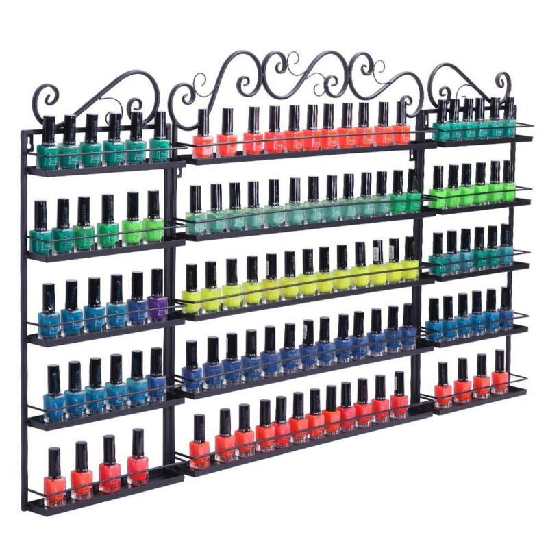 5 Tier Metal Nail Polish Display Rack Organizer Wall Holder Over 200 Bottles New
