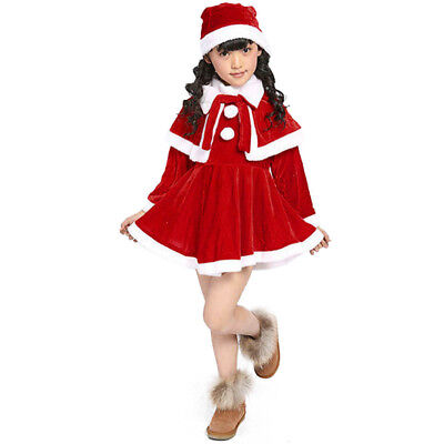 Toddler Kids Baby Girls Christmas Clothes Costume Party Dresses Shawl Hat Outfit](Girls Christmas Hat)