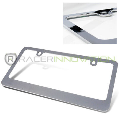 (1 x Polish Chrome Stainless Steel Metal Heavy Duty License Plate Frame Tag Cover)