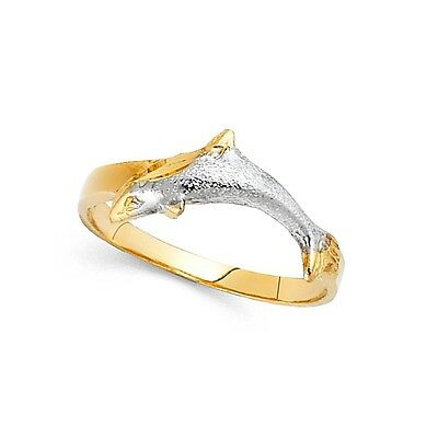(Dolphin Ring 14k Yellow & White Gold Fish Band Sand Finish Diamond Cut Solid)