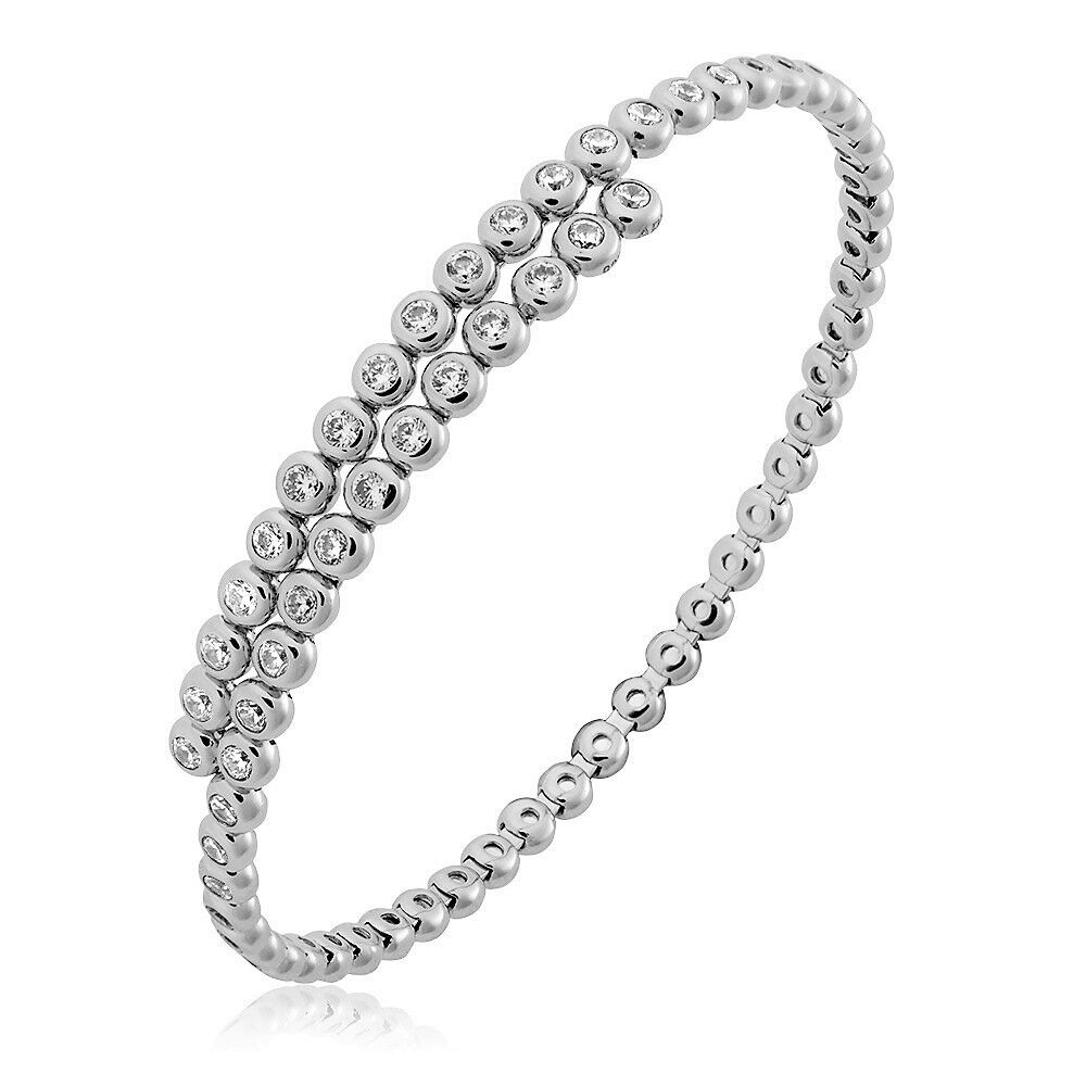 Damen Armreif Armspange Tennisarmband 925 Sterling Silber Zirkonia Armband flexi