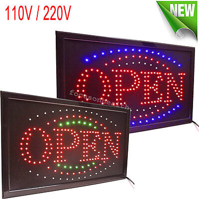 Visible Led Light Flash Motion Business Open Sign Chain Switch 25x48 For Indoor