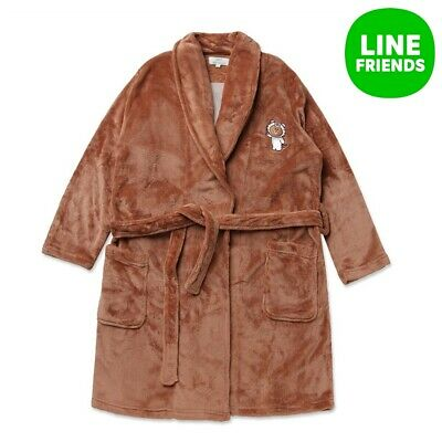 [Line Friends] Brown Unisex Sleep Robe Pajama Nightgown Bath Robe Sleepwear