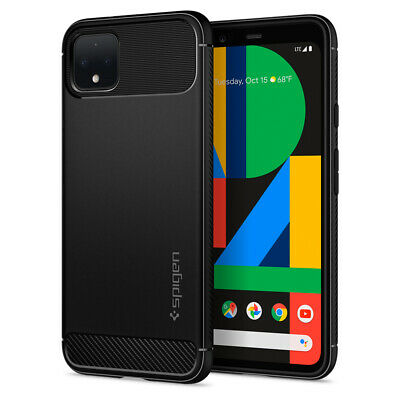 Google Pixel 4, Pixel 4 XL Case Spigen® [Rugged Armor] Matte Black Grip Cover
