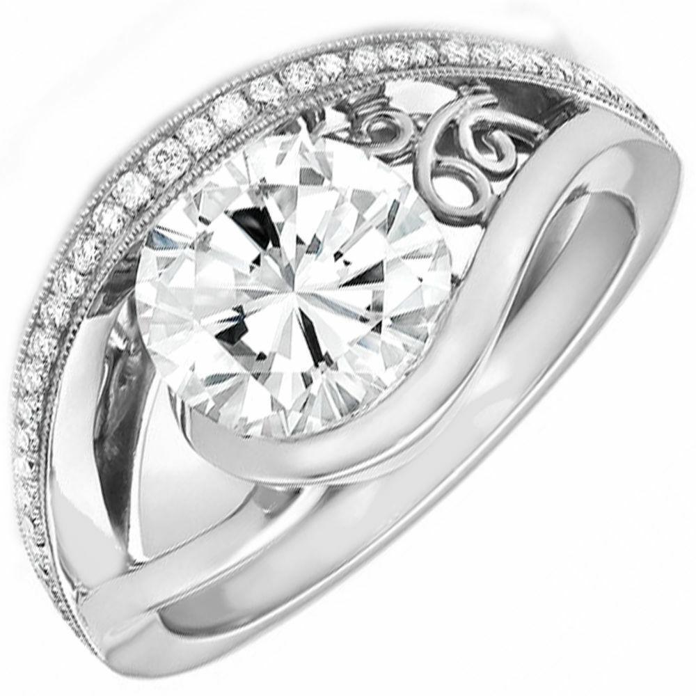 Natural GIA Certified Round Cut Diamond Engagement Ring 3.46 Carat 18K Gold