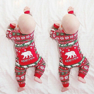 US Newborn Infant Baby Girl Boy Outfit Romper Jumpsuit Bodysuit Kid Xmas Clothes