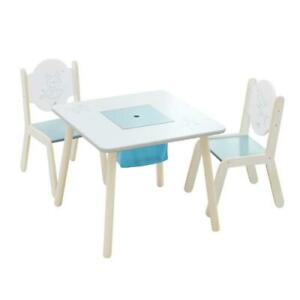 Used Labebe Children Wooden Furniture Activity Table and Chair Set, Sturdy Indoor Playroom/Bedroom Condtion: USED, Wh...