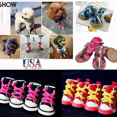 4Pcs Cute Pet Dog Boots Sports Sneakers Pet Shoes Non-slip Dog&Cat Shoes USA Dog Pet Sports Shoes
